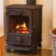 Cozy modern interior living room with wood burner