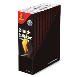 FLASH Zündhölzer 40er extra lang (ca. 20 cm) FSC (im Display)