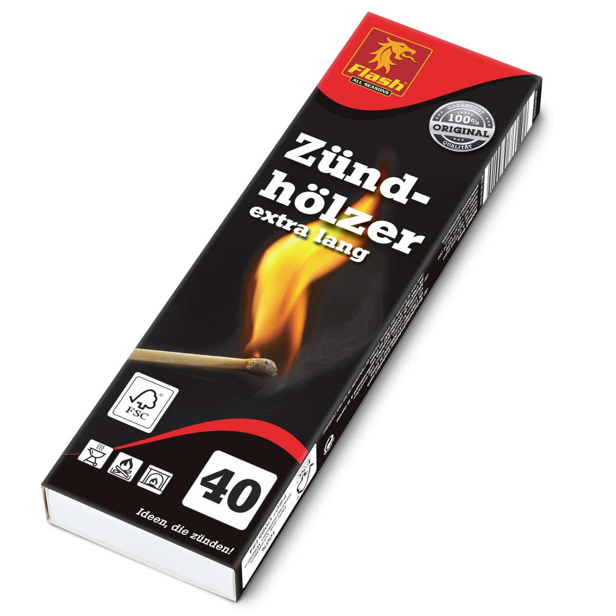 FLASH Zündhölzer 40er extra lang (ca. 20 cm) FSC