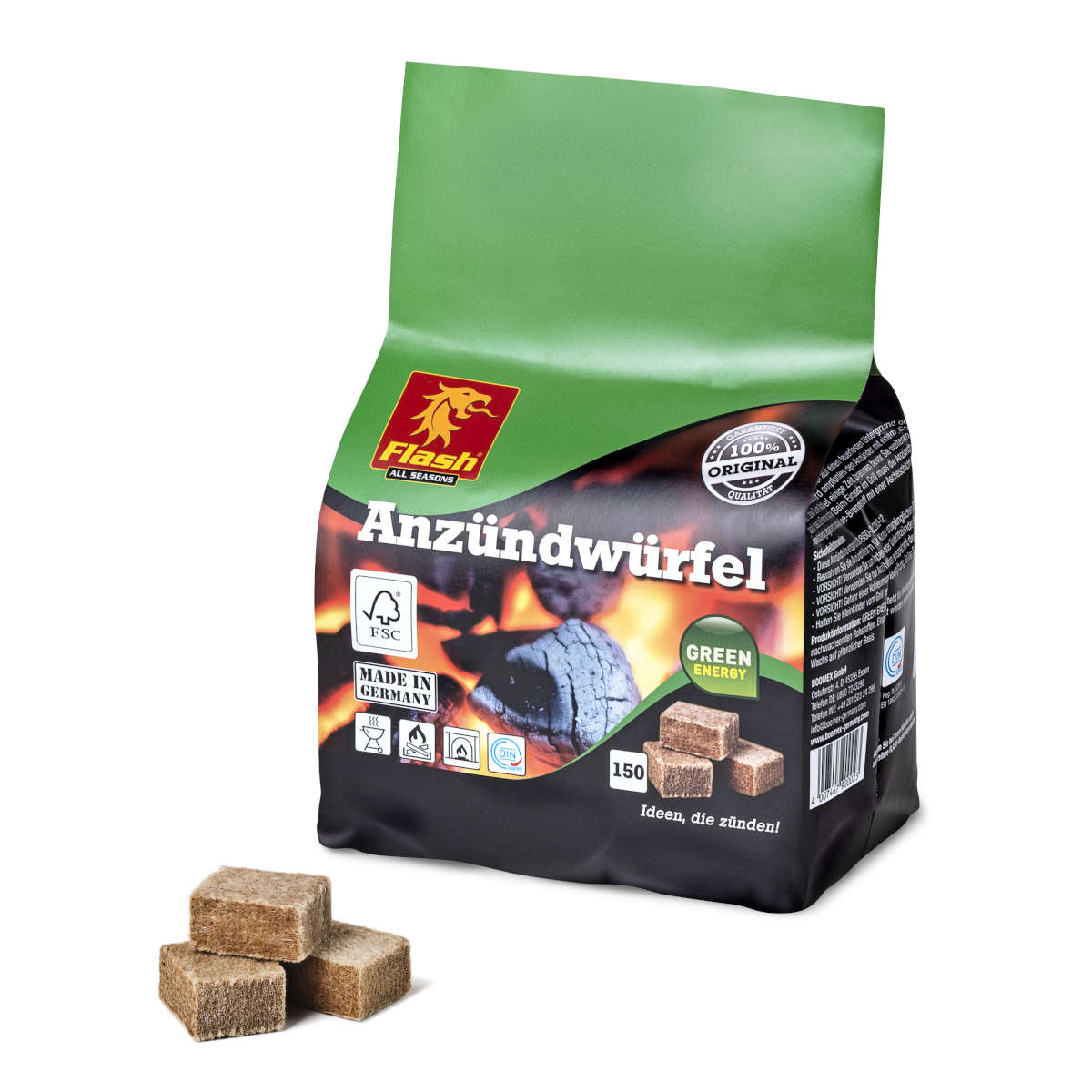 Anzündwürfel Holz und Wachs 150 Stück Beutel