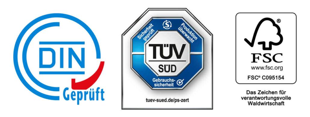 Prüfsiegel DIN TUEV FSC Logos