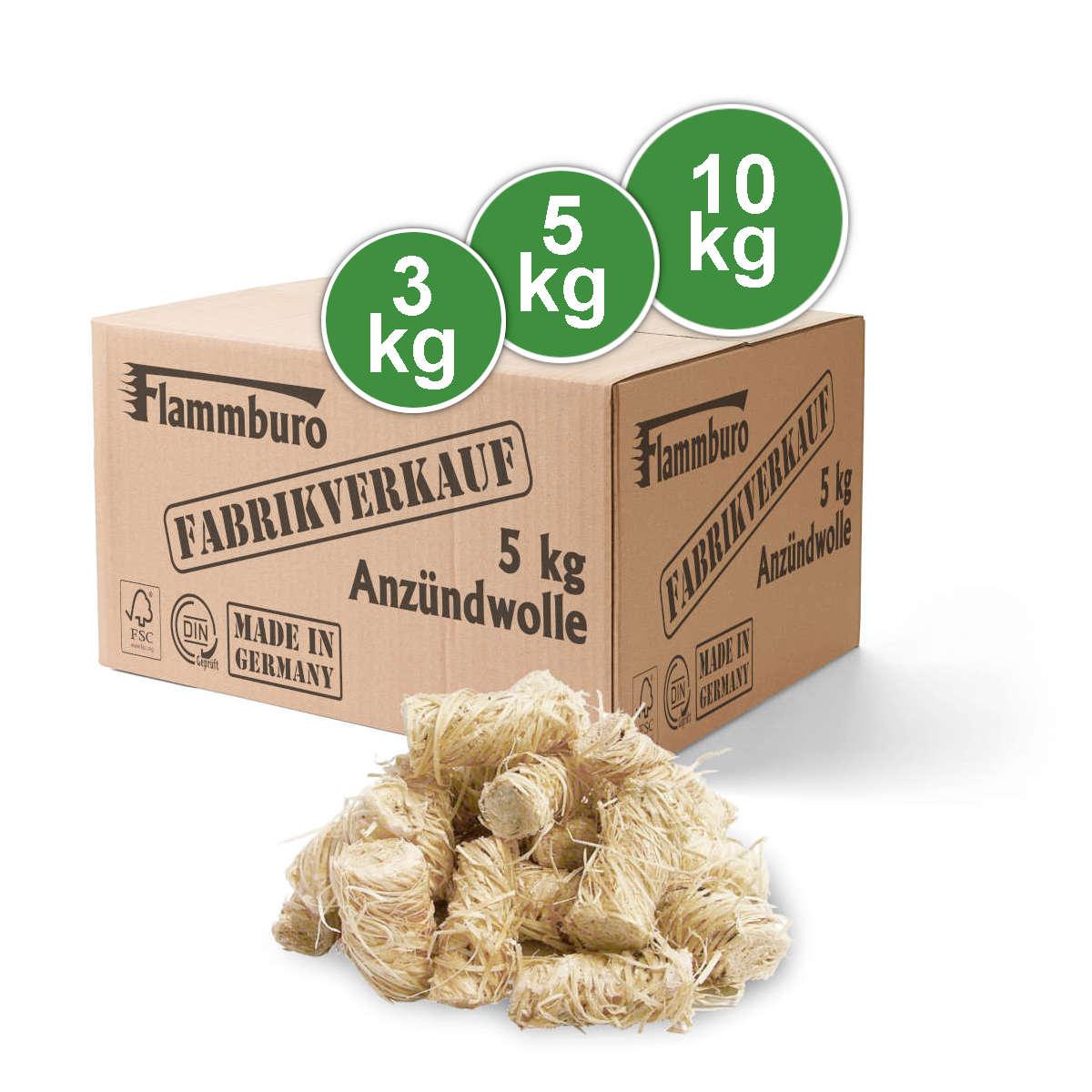 FLAMMBURO Anzündwolle 3kg 5kg 10kg