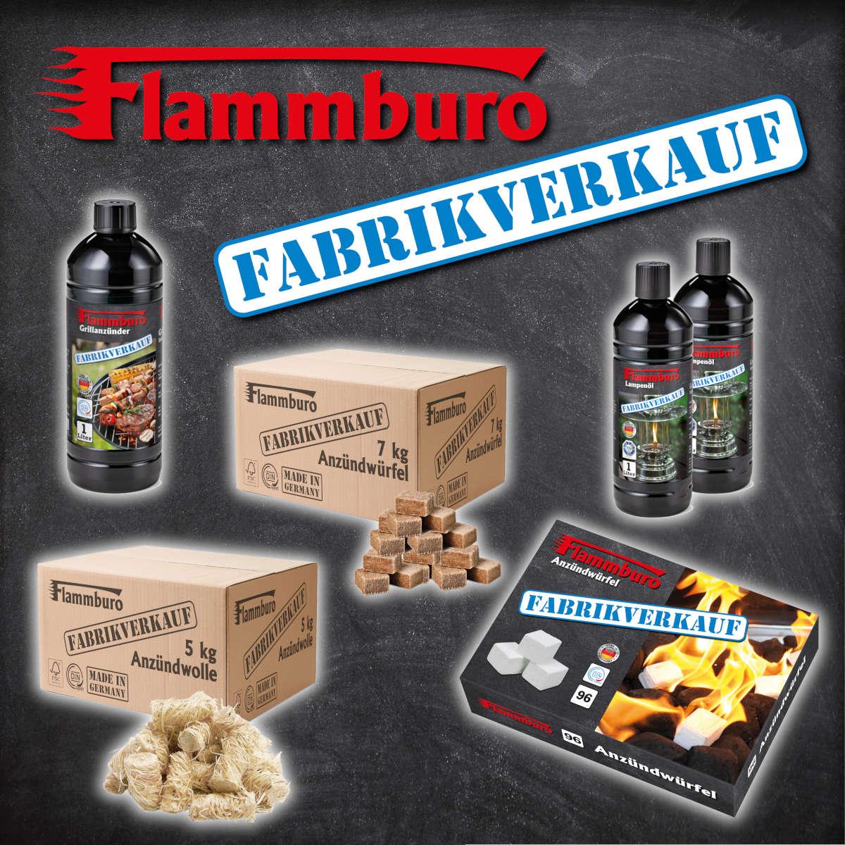 FLAMMBURO Anzündwolle Anzündwürfel Grillanzünder Lampenöl